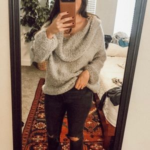 Sweaters - Grey knit slouchy sweater